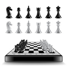 Chess board with figures isolated on white vector