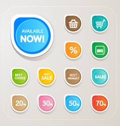 Shopping sticker colorful set vector
