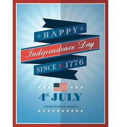 4th of july Independence day ribbon background vector image
