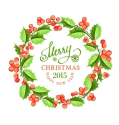 Christmas mistletoe wreath vector