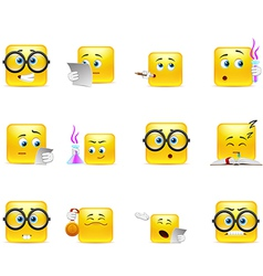 Set of emoticons for students vector