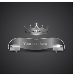 Decorative shiny banner crown logo vector