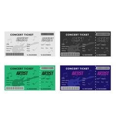 Set of colorful concert tickets with guitar and vector