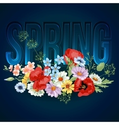 Background with spring flowers vector