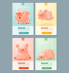 Animal banner with pigs for web design 5 vector