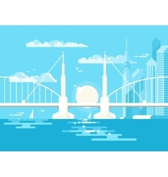 Modern bridge design flat vector