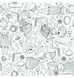 Pattern with cute girl princess musical vector