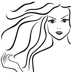 abstract beautiful girl with flowing hair vector image
