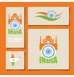 Abstract flags for indian independence day card vector