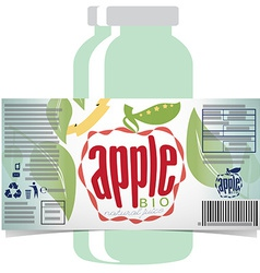 Apple juice product label vector
