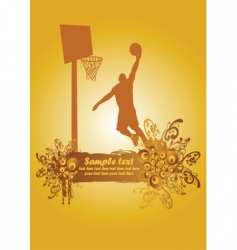 basketball dunk poster vector image vector image