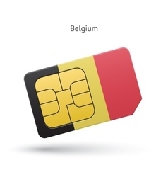 Belgium mobile phone sim card with flag vector
