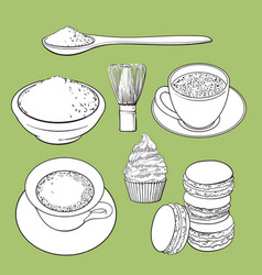 Big set of matcha green tea food and accessories vector