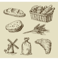 Bread doodle vector