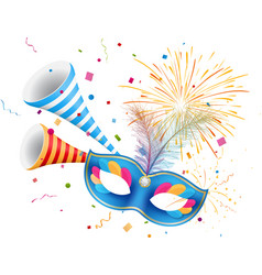 carnival mask with confetti and horn vector image