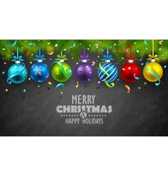 Christmas balls and confetti vector image