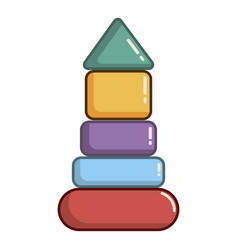 colorful pyramid toy icon cartoon style vector image vector image