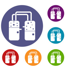 Containers connected with tubes icons set vector