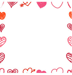 Different valentines day hand color drawn hearts vector