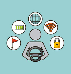 Driverless car smart security sensor flag electric vector