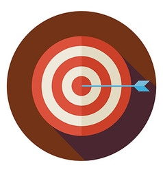 Flat business success target circle icon with long vector