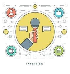 Flat line Interview Concept vector image