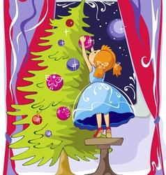 Girl dresses up christmas tree vector