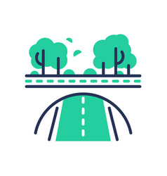 green road - modern single line icon vector image