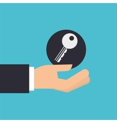 Hand holding key lock protection icon design vector