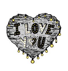 Heart loft style vector