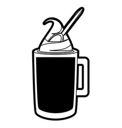 iced coffee and spoon vector image