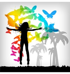 jumping girl butterfly landscape vector image
