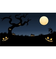 Many pumpkins halloween very scary vector