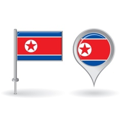 North Korean pin icon and map pointer flag vector image vector image