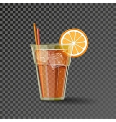 Orange drink in the glass vector