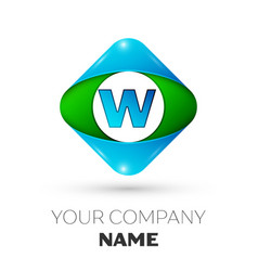 Realistic letter w logo in colorful rhombus vector
