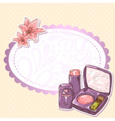 Skincare make-up lipstick isolated card vector