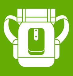 Sleeping bag icon green vector