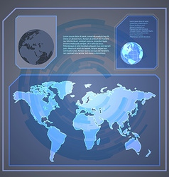 Technology holographic background with world map vector