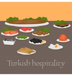 Turkish hospitality common main and side dishes vector