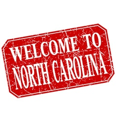 Welcome to north carolina red square grunge stamp vector