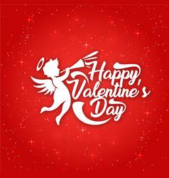 White happy valentines day cupid red blackground v vector