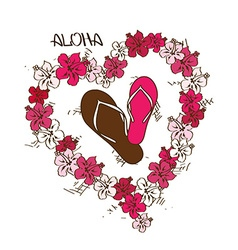 With flip flops and lei flowers garland vector