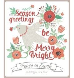 Vintage merry christmas and happy new year card vector