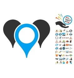 Map pointers icon with 2017 year bonus symbols vector