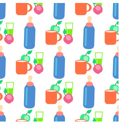 Baby food cartoon seamless pattern vector