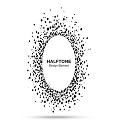 Black abstract oval circle halftone dots frame vector
