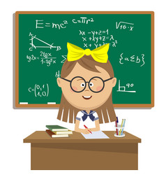 Cute schoolgirl sitting at table over blackboard vector