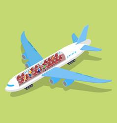Air plane interior with passengers isometric vector