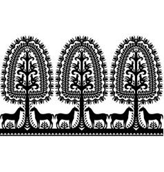 Seamless polish folk art black pattern vector